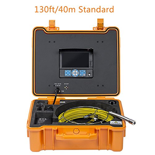 DeVision All-in-one Professional Industrial CCTV Pipe Drain Sewer Video Inspection System, with ∅0.9inches/23mm Flexible Camera, 7 inches DVR, 8GB SD Card (3199F 130ft./40m Standard)
