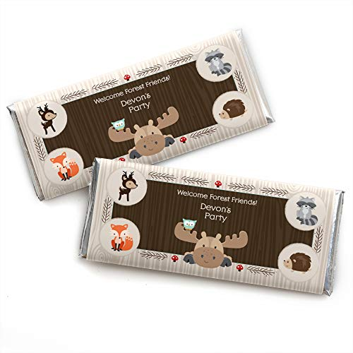 - Custom Woodland Creatures - Personalized Baby Shower or Birthday Party Favors Candy Bar Wrappers - Set of 24