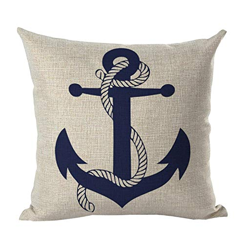 NAVIBULE Selcet Blue Boat Anchor Pattern Cotton Linen Decorative Throw Pillow Case Cushion Cover for Couch Home Car Square 18 x 18Inch