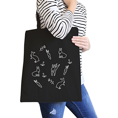365 Printing Rabbit Pattern Black Canvas Bag Cute Easter Bunnies Tote Bags