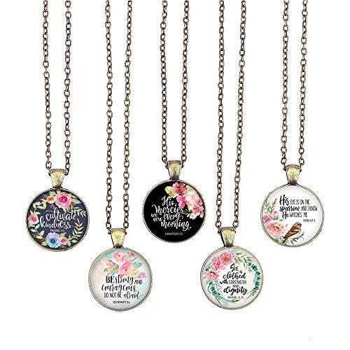- BUENAVO Bible Verse Pendant Necklace Christian Songs and Hymns Glass Cabochon Pendant Inspired Necklace with 24 inches Chain Handmade for Gifts 5pcs (Bible 4, Bible Verses)