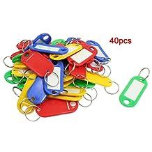 Sonline 40 Pcs Split Ring Colorful Plastic ID Tags Name Card Label Key Holder