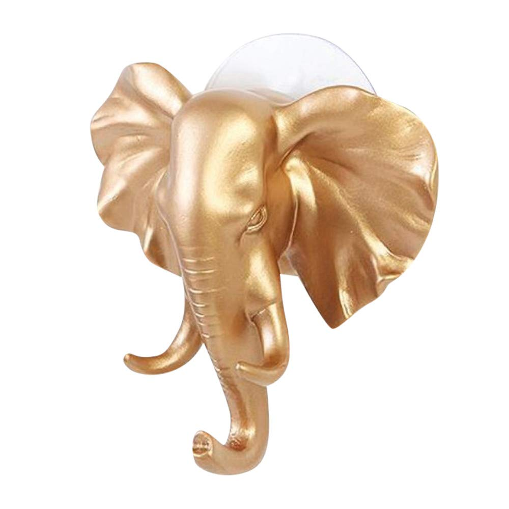TheRang Lovely Elephant Head Self Adhesive Wall Door Hook Hanger Bag Keys Sticky Holder (Glod)