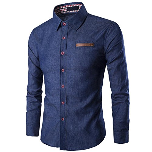 Men Shirt 2017 New Hot Sale Fashion Mens Casual Long Sleeve T-Shirt Business Slim Fit Shirt Cowboy Blouse Top by Neartime (S, (Blue Try Out T-shirt)