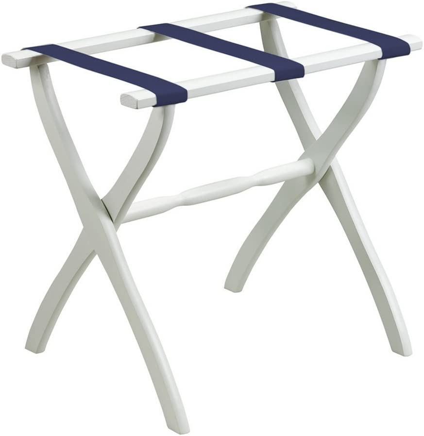 Gate House Furniture White Contour Leg Luggage Rack with Navy Straps