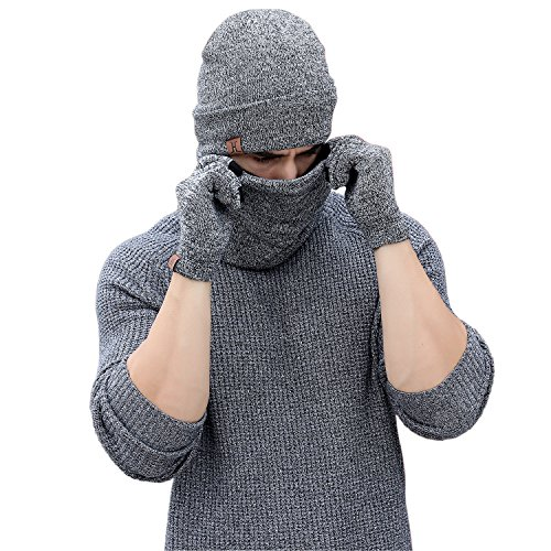 Winter Men Beanie Hat   Scarf   Touch Screen Gloves  3 Pieces Winter Warm Clothing Set For Men