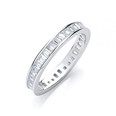 Sterling Silver Channel Set Full Eternity Baguette Cut Cz Ring Hallmarked tf9HjcbWCm