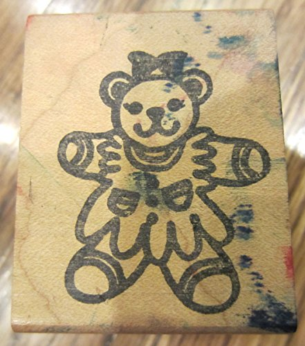 - Stamps N' Suck 1991 Teddy Bear Girl Outline Wooden Rubber Stamp
