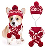 Mihachi Christmas Dog Costumes Hat Scarf Set Knit Snowflake Reindeer Print 2Pcs Winter Warm Clothes for Small Dogs Cats Red White Medium