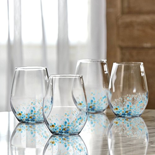 Fitz and Floyd 229568-4ST Callie Stemless Goblets, Blue by Fitz and Floyd (Image #1)
