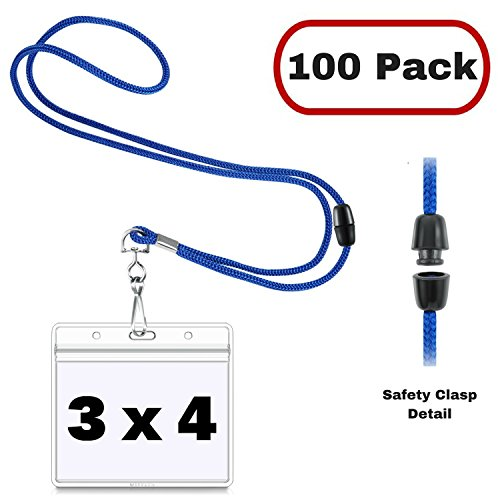 Away Lanyard (MIFFLIN Horizontal 3x4 Name Badge Holder with Safety Lanyard Sets (Royal Blue Breakaway, 100 Pack), Clear Plastic for Large Nametags, Conference Badges)