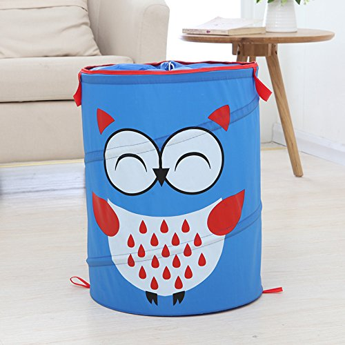 Lqchl Animal Pattern Washing Clothes Storage Baskets Large Storage Barrel Cartoon Foldable Hamper Children Dirty Clothes Storage Box,Blue
