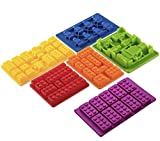 Lego Silicone Non BPA Food Grade Baking Ice Candy Jell-O Molds with Building Blocks and Robots Set of 6