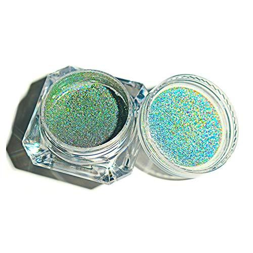 Finerplan Rainbow Color Nail Glitter Powder Holographic Pigment Glitter Manicure Nail Art Decoration