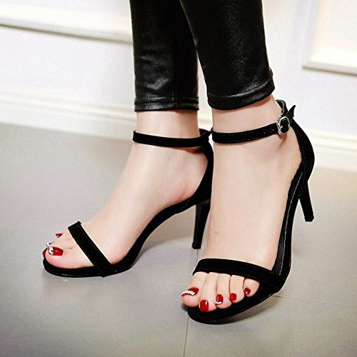COOLCEPT Damen Fashion Strappy Shoes Open Toe Kn?Chelriemchen Sandalen Stiletto Schwarz 714