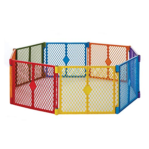 North States Superyard Colorplay 8-Panel Play Yard: Safe play area anywhere - Folds with carrying strap for easy travel. Freestanding. 34.4 sq. ft. enclosure (26 tall, Multicolor)