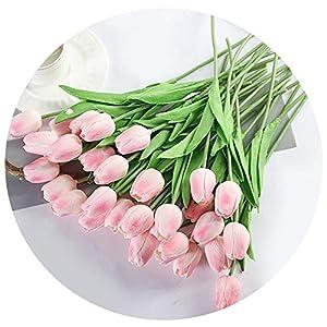 31pcs/lot Tulip Artificial Flowers Wedding Decor Simulation Bride Bouquet pu Calla Real Touch Flores para for Home Garden Decor,Pink 79