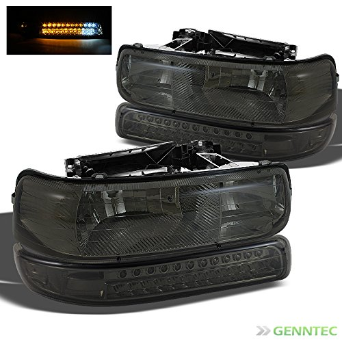 2005 Smoked Led (For 1999-2002 Silverado, 2000-2006 Tahoe/Suburban Smoked Headlights + LED Bumper Lights Pair Left+Right 2000 2001)