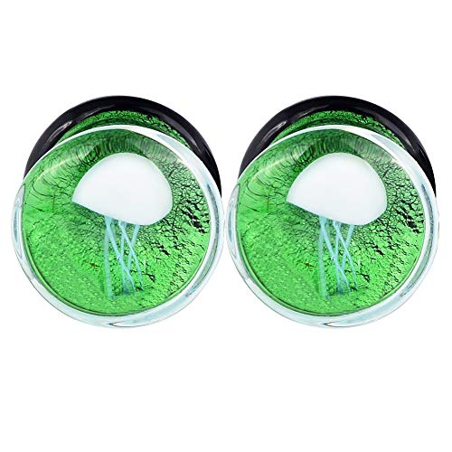 Lianrun 1Pair Glass Ocean Jellyfish Ear Plugs Gauges Expander Tunnels 6 Style to Choose Size 0g-5/8 - Gauge Tunnels Plugs 6