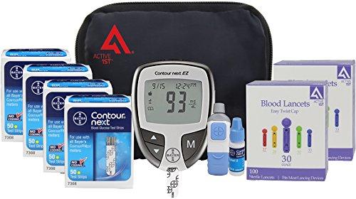 Active1st Bayer Contour NEXT Diabetes EZ Meter Testing Kit, 200 Test Strips, 200 Lancets, Lancing Device, Control Solution, (Blood Testing)