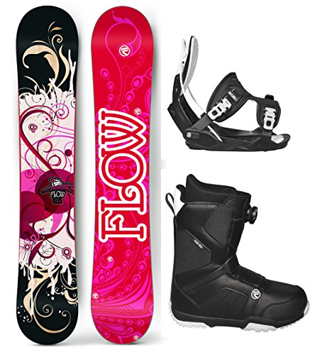 's Complete Snowboard Package Flow Bindings Flow BOA Boots - Board Size 140 (Boot Size 8) ()