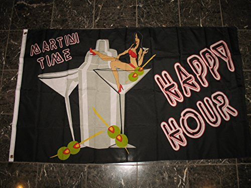 Somewhere Martini T-shirt (3X5 Advertising Happy Hour Martini Time Party Drinking Flag Outdoor Indoor 3'X5')