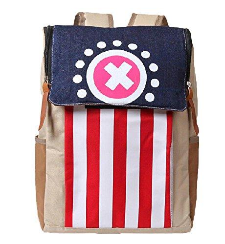 Creative Cartoon One Piece Chopper Unisex Leisure Bag Shoulder Backpack Beige (Chopper  Red and white stripe)