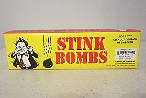 STINK BOMBS GLASS VIALS STINKY SMELLY NASTY FART GAS BOMB SMELL GAG GIFT PACK OF 36 (Bomb Of Gas)