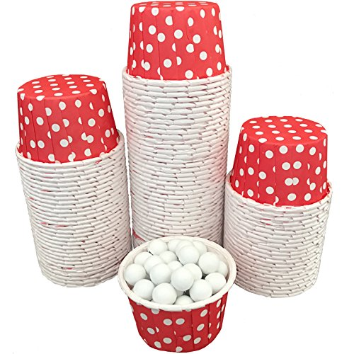 Candy Nut Mini Baking Paper Treat Cups - Red and White - Polka Dot - Valentine's Supply - Bulk 100 Pack]()