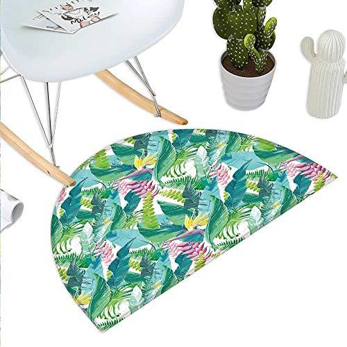 (Anhuthree Leaf Half Round Door mat Outdoor Summer Spring in Exotic Island with Flowers Plumeria Lilac Image Half Round Indoor Door mat Pink Light Blue Yellow and Green)