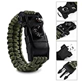 Paracord-Survival-Bracelet-500-LB-Outdoor-Hiking-Travelling-Camping-Gear-Kit-12-in-1-Parachute-Rope-Bracelet-CompassThermometerWhistleScrewdriverScrapperWrenchBottle-Opener-Military-Color