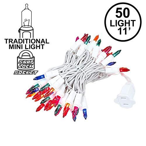 Novelty Lights 50 Light Multi Christmas Mini String Light Set, White Wire, Indoor/Outdoor UL Listed, 11 Long