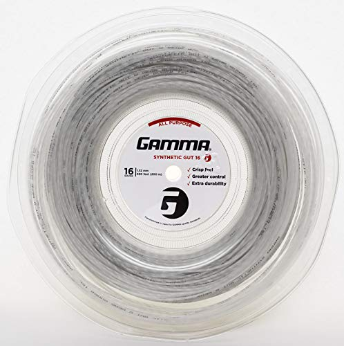 Gamma Sports 16g Synthetic Gut Tennis String Reel, 720', White ()