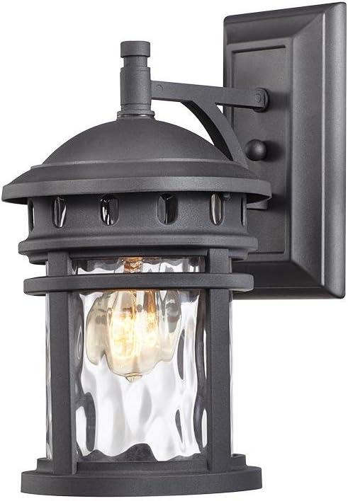 Home Decorators Collection C2368 1-Light Black Outdoor Wall Lantern, Black
