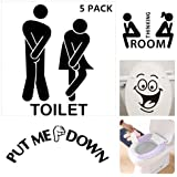 Pack of 5pcs Bathroom Washroom Toilet WC Wall Stickers Funny For Door Girls Boys Kids Waterproof Removable Home Decoration Art