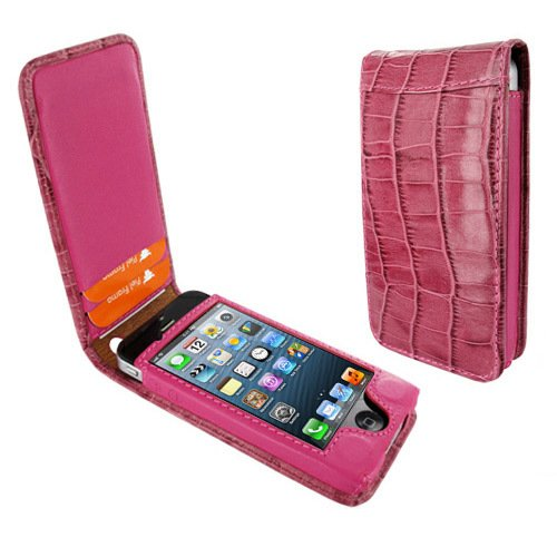 Piel Frama 595 Pink Crocodile Magnetic Leather Case for Apple iPhone 5 / 5S / SE by Piel Frama