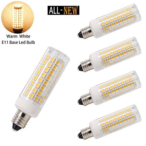 E11 LED, All-New (102LEDs) E11 Led Bulbs, 8 Watt, 75W 100W halogen bulbs replacement,850 lumens, JD T3/T4 E11 mini candelabra base 110V 120V 130 voltage input, CRI>80, pack of 4 (Warm white 3000K) ()
