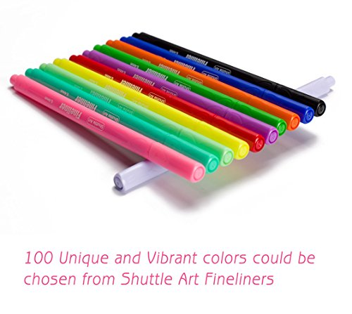 -[ Fineliner Pens, Shuttle Art 100 Coloured Pens 0.4mm Fineliner Colouring Pen Set Fine Line Drawin