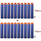 100pcs Darts (30pcs Universal Suction Cup and 70pcs Round Head), DOLAIMI Blue Total 100 Pack 7.2cm Foam Refill Bullet Darts for Children Kids Toy Gift Nerf Gun N-strike Elite Series Blasters