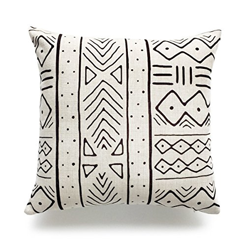 Hofdeco Decorative Throw Pillow Case African Mud Cloth Print Bogolan Pattern Heavy Weight Fabric Cushion Cover 18x18 Inches (Pattern B)