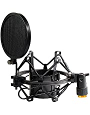 Tencro 47–53 mm AT2020 mikrofonstötdämpare med popfilter och adapter anti-vibration högisolerad metallmikrofonhållare klämma, passar för diameter på 47–53 mm mikrofon i sändning, inspelning, etc. L