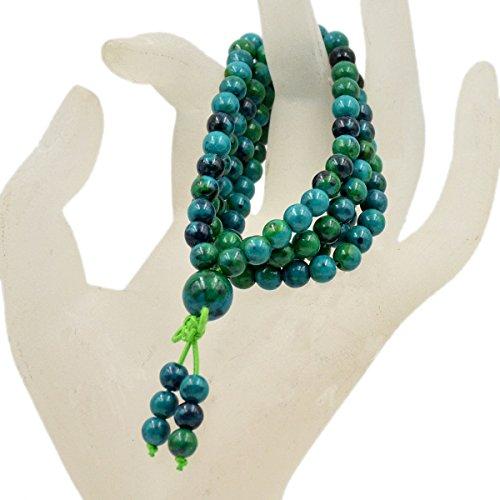 AD Beads Natural Gemstones Buddhist 108 Prayer Healing Beads Mala Stretchy Bracelet Necklace 6mm (Chrysocolla)