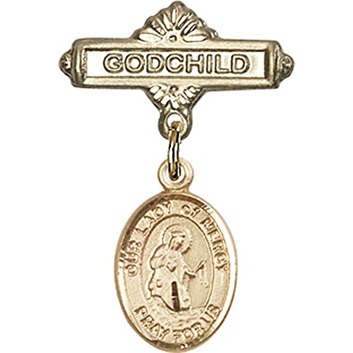 14kt Yellow Gold Baby Badge with Our Lady of Mercy Charm and Godchild Badge Pin 1 X 5/8 inches by Bonyak Jewelry Saint Medal Collection