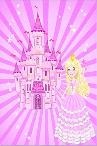 DiscountWorld Pink Princess Castle Kid's Rug with Non Slip Rubber Backing 4'x6'