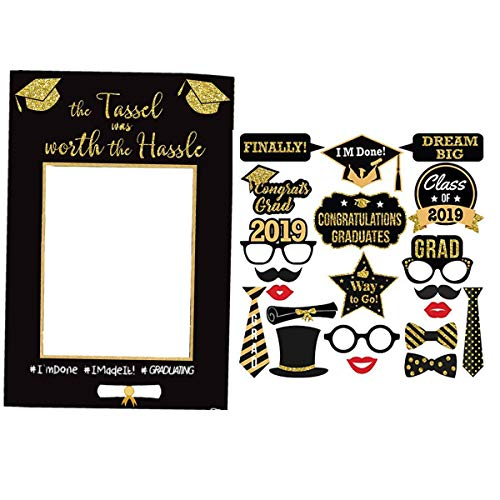 (21pcs Graduation Party Photo Booth Props, Picture Paper Frame Class of 2019 Posing Props 26.8 x 18.9 inch Size, 2 Set for Graduation Party by LASLU)