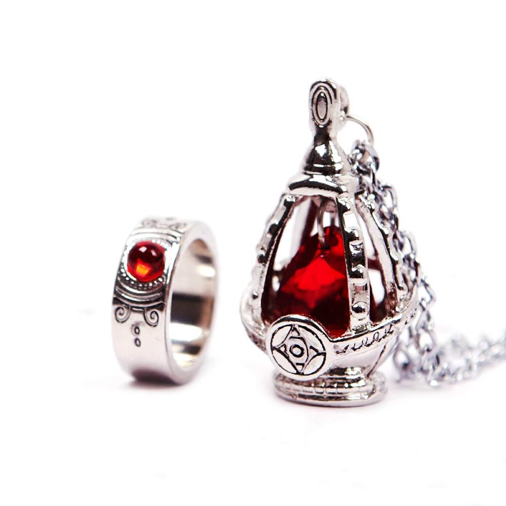 New Puella Magi Madoka Magica Soul Gem Necklace + Ring Cosplay Set Red