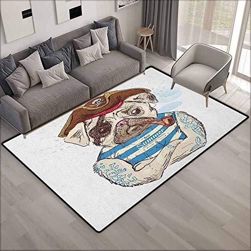 Kids Rug,Pug Pirate Pug Conqueror of The Seas Pipe Skulls and Bones Hat Striped Sleeveless T Shirt,Children Crawling Bedroom Rug,6'6