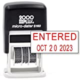 Cosco 2000 Plus Self-Inking Rubber Date Office Stamp with Entered Phrase & Date - RED Ink (Micro-Dater 160), 12-Year Band