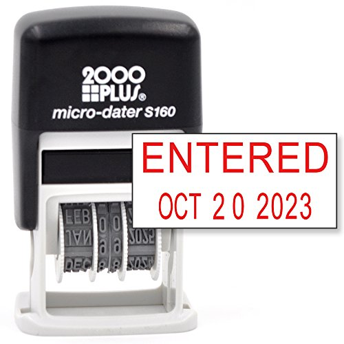 Cosco 2000 PLUS Self-Inking Rubber Date Office Stamp with ENTERED Phrase & Date - RED INK (Micro-Dater 160), 12-Year Band (Phrase Date Stamp)