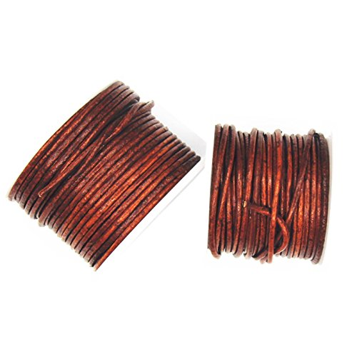 Glory Qin Distressed Brown Color Soft Round Genuine Jewelry Leather Cord Leather Rope (3mm 20 Yards)